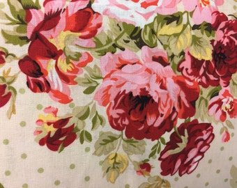 Cranberry Cottage Shabby Chic Roses & Dots New Window Curtain Valance