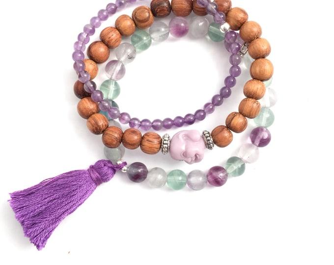 yoga stack bracelets  amethyst & flourite gemstone tassel and buddha, bracelet set, purple bracelet, tassel bracelet, yoga jewelry, buddha