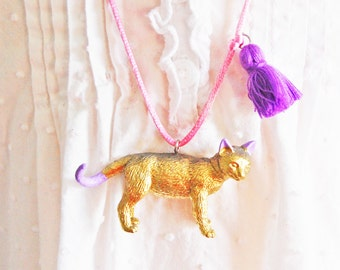Cat Necklace. Kids Cat Necklace. Tassel Necklace. Gifts for Cat Lovers. Cat Jewelry. Girls Cat Necklace. Gifts for Kids.  Little Girl Gift