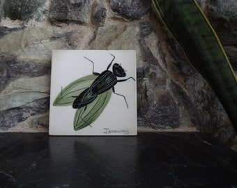 Handmade Ceramic Tile. January. Handpainted Fly. Insect.