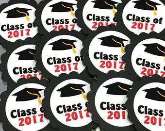 Graduation Cupcake Toppers - Class of 2017, Black and White, Set of 12