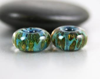 Lampwork Glass Beads - Green Aqua - Lampwork Beads - 13 x 7mm