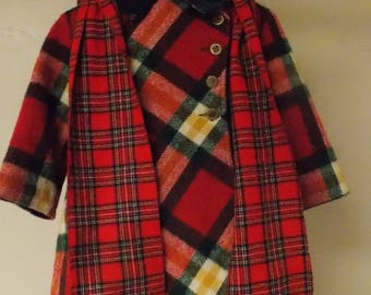 Vintage girls flared wool plaid coat double breasted red w/green white gold lined 5 w/scarf