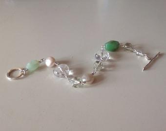 Chunky bead bracelet, freshwater pearls , quartz