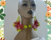 Gorgeous Aluminum Multicolor Red and Yellow Hand Painted Butterfly Earrings, Large Earrings, Women's Earrings, Fashion Earrings