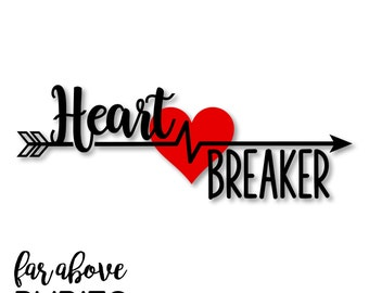 Happy Valentine's Day Heart Breaker Arrow Heart - SVG, DXF, png, jpg digital cut file for Silhouette or Cricut
