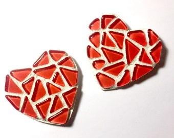 Mosaic Heart Magnet Set, Two Mosaic Heart Magnets, Red and White Mosaic Heart Magnets, Valentine Mosaic Heart Magnets, Two Mosaic Magnets