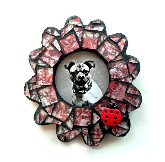 Photo Frame Magnet, Mosaic Frame Magnet, Red Silver Flower Magnet with Ladybug , Red Ladybug Flower Frame Magnet, Ladybug Photo Frame Magnet