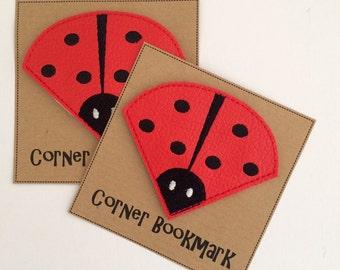 Ladybird - Embroidered Corner Bookmark