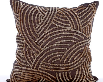 "Designer Throw Pillows Cover, 16""x16"" Brown Silk Pillow Covers, Decorative Square Brown Pipe Sequins Pillow Cover - Good Earth"