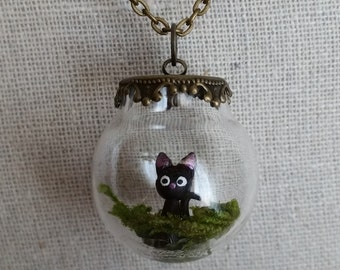 Kitty Cat Terrarium Necklace, Miniature Jiji in a Fancy Glass Globe Pendant, Hypoallergenic Chain, Miniature Terrarium Jewelry