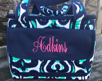 Luna Lagoon Insulated Cooler-Navy and teal Lunch Bag-Personalized-Monogram-Cooler Bag-Cold Bag