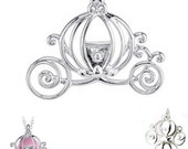 MERZIEs sp CARRIAGE princess for ~5-6mm bead 22x24mm cage silver plated pendant 3.9g - SHIPs from USA