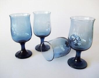 Pfaltzgraff Yorktowne Blue Water Glasses/Goblets, Etched Stemware, USA, 1970s