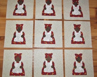 Set of 9 Aunt Jemima in Red Iron-on Fabric Appliques for Quilts & Clothing