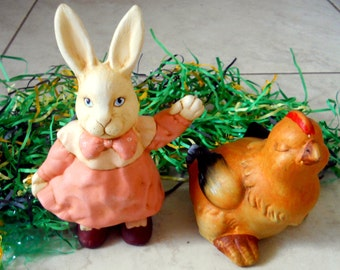 """6.5"""" tall Easter Rabbit and Chick Figurines - Pink Dress Bunny, Easter Decor - Ceramic Easter Bunny, Spring Decor, Shabby Chic, Cottage chic"""