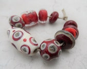 Lampwork Beads - Handmade Glass Beads - Red & Ivory
