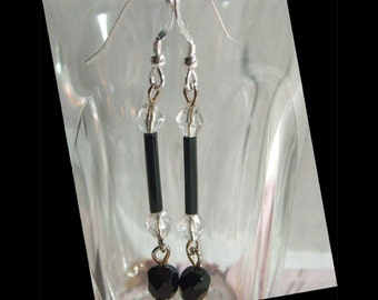 Black Crystal Earrings, long sleek vintage beads sterling ear wires, bridesmaid gift, black & white wedding