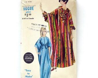 Vintage Vogue Robe Caftan MuuMuu Ruffles or Self Tie Sash 1960s Mod Vogue 7030 / One Size