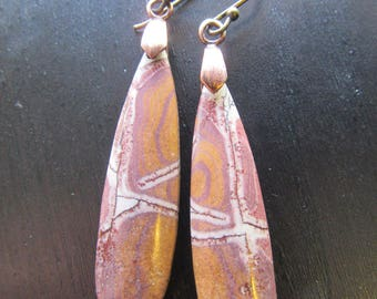 Earrings Rhyolite Sonoran Dendritic Gemstone Beautiful Drop with Oxidized Copper Handcrafted Earwires Spiral Path I