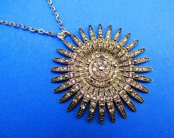 Star burst necklace bridal necklace wedding necklace silver necklace Art Deco necklace