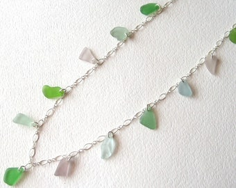 Long Pastel Multi-Colored Seaglass Necklace  on a Sterling Silver Chain
