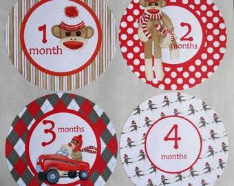 SOCK MONKEY-Monthly Bodysuit Stickers-set of 13