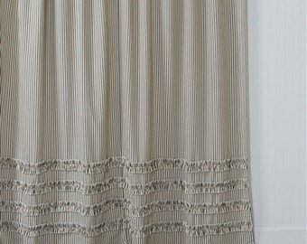 extra brown and red shower curtain. Ticking Stripe Ruffle Shower Curtain Black 72x72 or 72x84 extra long Brown Grey Navy Blue
