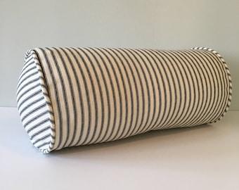 Black Ticking Stripe Bolster Throw Pillow 6 x 12