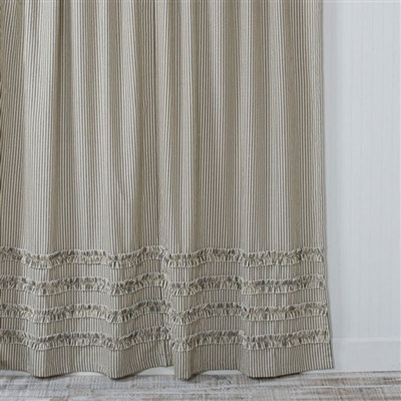 Ticking Stripe Ruffle Shower Curtain Black 72x72 Or 72x84