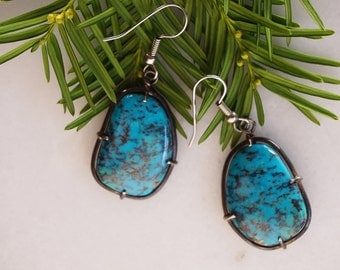 Molted Blue Turquoise earrings