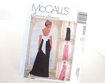 Vintage Evening Dress, Bridesmaid Gown, Sewing Pattern McCall's 9098, Size 6, 8, 10, Bust 30.5, 31.5, 32.5 Inches
