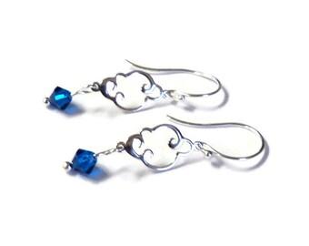 "Earrings, Petite Sterling Silver and Blue Swarovski Crystal Fancy Dangle Earrings, 1 1/2"", Gift for Her"