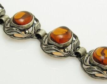 Sterling Amber Bracelet Leaf Antique Arts and Crafts Jewelry B7554