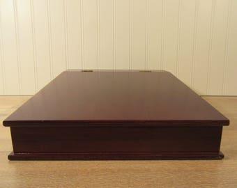 Mahogany wood lap desk with hinged lid and interior compartments- Bombay Company