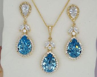Aquamarine Jewelry Set, Swarovski Crystal Necklace and Earrings Set, Wedding Jewelry Set, Bridesmaids Gift, Blue  Bridesmaid Jewelry Sets