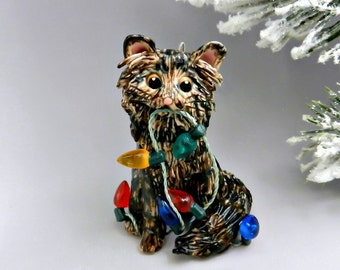 Brown Tabby Maine Coon Norwegian Forest Cat Christmas Ornament Figurine Porcelain