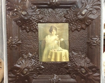 TIN CEILING Burnished Metal Picture Frame 8x10 Shabby Recycled chic 533-16