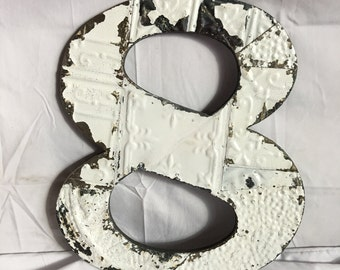 """1890's Reclaimed  Tin Ceiling Wrapped 16"""" Number '8' Patchwork White Metal Mosaic Wall Hanging 49-17i"""