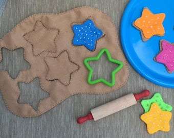 STARS Felt Cookie Set -- felt food, felt cookie sets, pretend kitchen, imagination, imaginative play, preschool toy, gift for kids