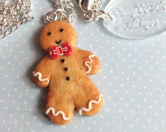 Gingerbread Man Charm - Available on Necklace or Clasp or as Lapel Pin