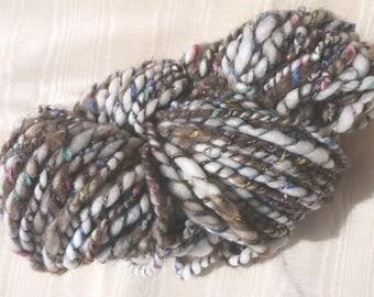 Hand Spun Thick and Thin Wool and Buffalo Yarn