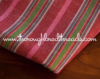 Colorful Stripe - Vintage Fabric Red  New Old Stock Ticking Vertical Stripe