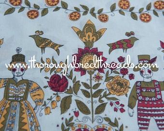 Mid Century Folk Art  -  Vintage Fabric 50s 60s New Old Stock Birds Tulips Hearts