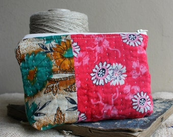 Vintage kantha pouch with zipper pinkie red and green