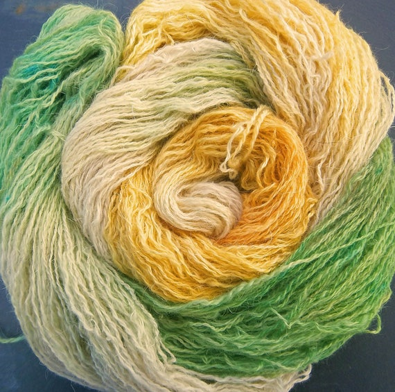 Hand Dyed Yarn  Elvincraft Sheep Light 4ply, Fingering Wild Primroses