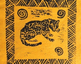 South African cotton batik panel - bright yellow cheetah