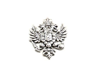 Double Eagle Crest Stamping with Shield and Crown - 1 Piece - Antiqued Silver Coat of Arms - Medieval, Military, Neo Victorian, Gothic
