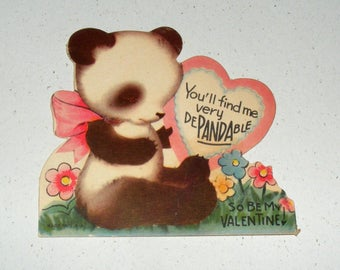 Vintage  Valentine Sweet Panda Bear with Heart USA