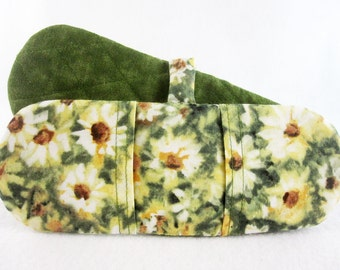 Hot Holders Microwave Oven Finger Mitts - Sunflowers, Green, Yellow, Floral, Magnetic Pot Holders, Mini Mitts, Magnetic Mitt